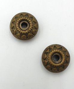 Metallook dichte ring 18mm met hartjes brons