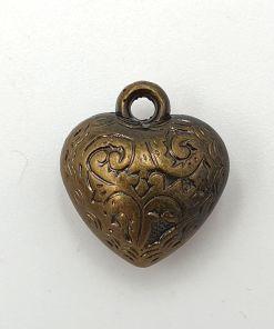 Metallook bedel hartje 15mm brons