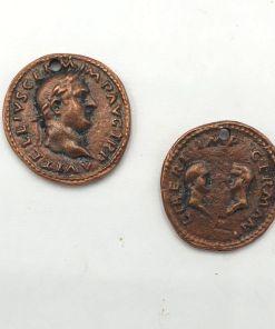 Metalen bedel oude munt koper 18mm