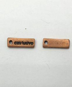 Metalen bedel label exlusive 15x4mm