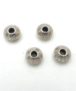 Metallook kraal Rond 12mm antiek zilver diabolo