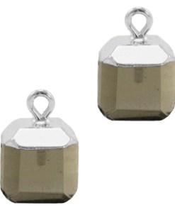 Natuursteen hangers square Black diamond-silver