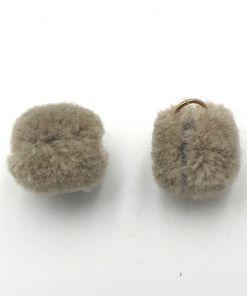 Pompom bedel met oog goud 15mm taupe grey