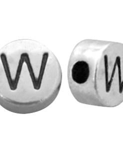 DQ metalen letterkraal W Antiek zilver (nikkelvrij)