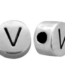 DQ metalen letterkraal V Antiek zilver (nikkelvrij)