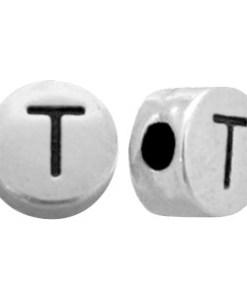 DQ metalen letterkraal T Antiek zilver (nikkelvrij)