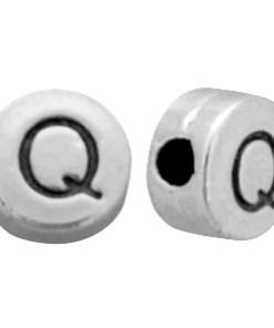 DQ metalen letterkraal Q Antiek zilver