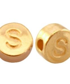 DQ metalen letterkraal S Goud