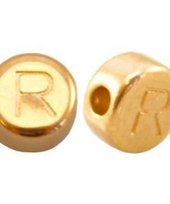 DQ metalen letterkraal R Goud