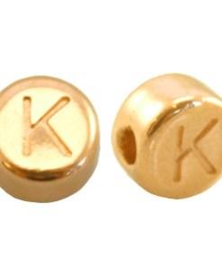 DQ metalen letterkraal K Goud