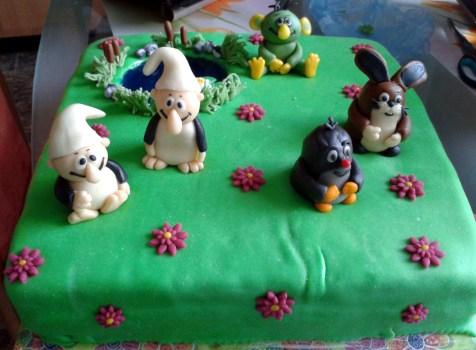 Dětský dort Krteček, Rákosníček a Křemílek s Vochomůrkou