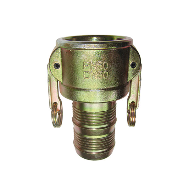 Coupler with hose stem, 2-handles, normal clamping