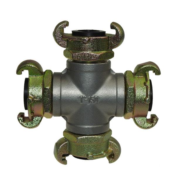 X-Verteiler mit Kupplungen Gummidichtungen Klauenkupplung Druckluft