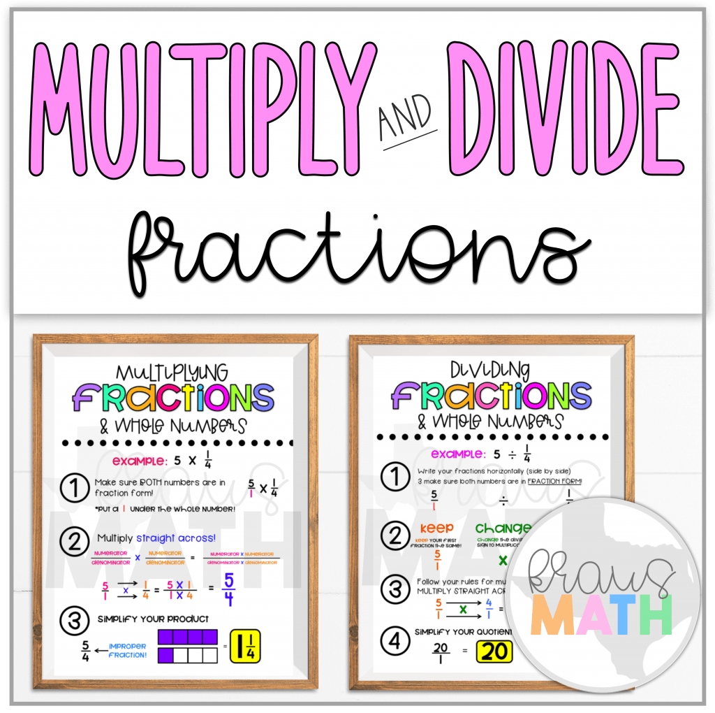Multiply Amp Divide Fractions Amp Whole Numbers Poster