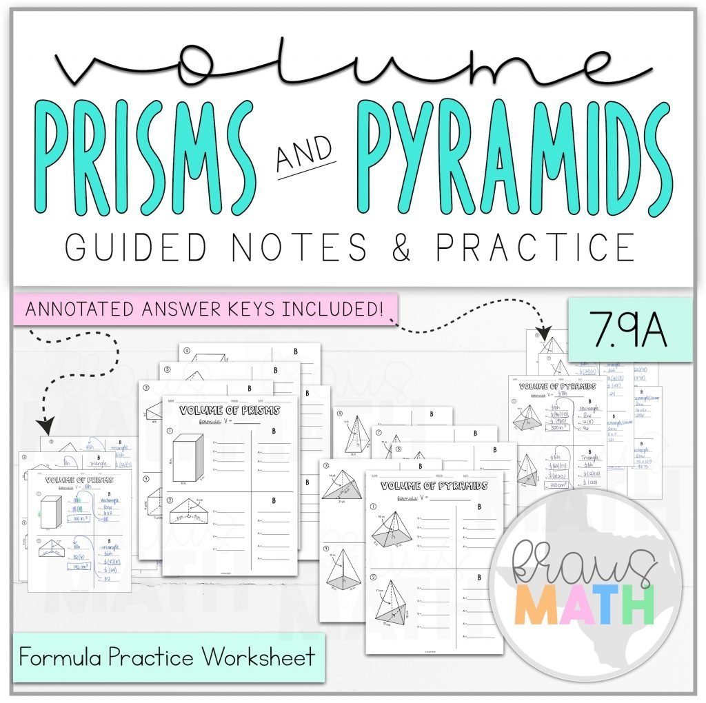 Volume Of Prisms Amp Pyramids Worksheet Bundle Teks 7 9a