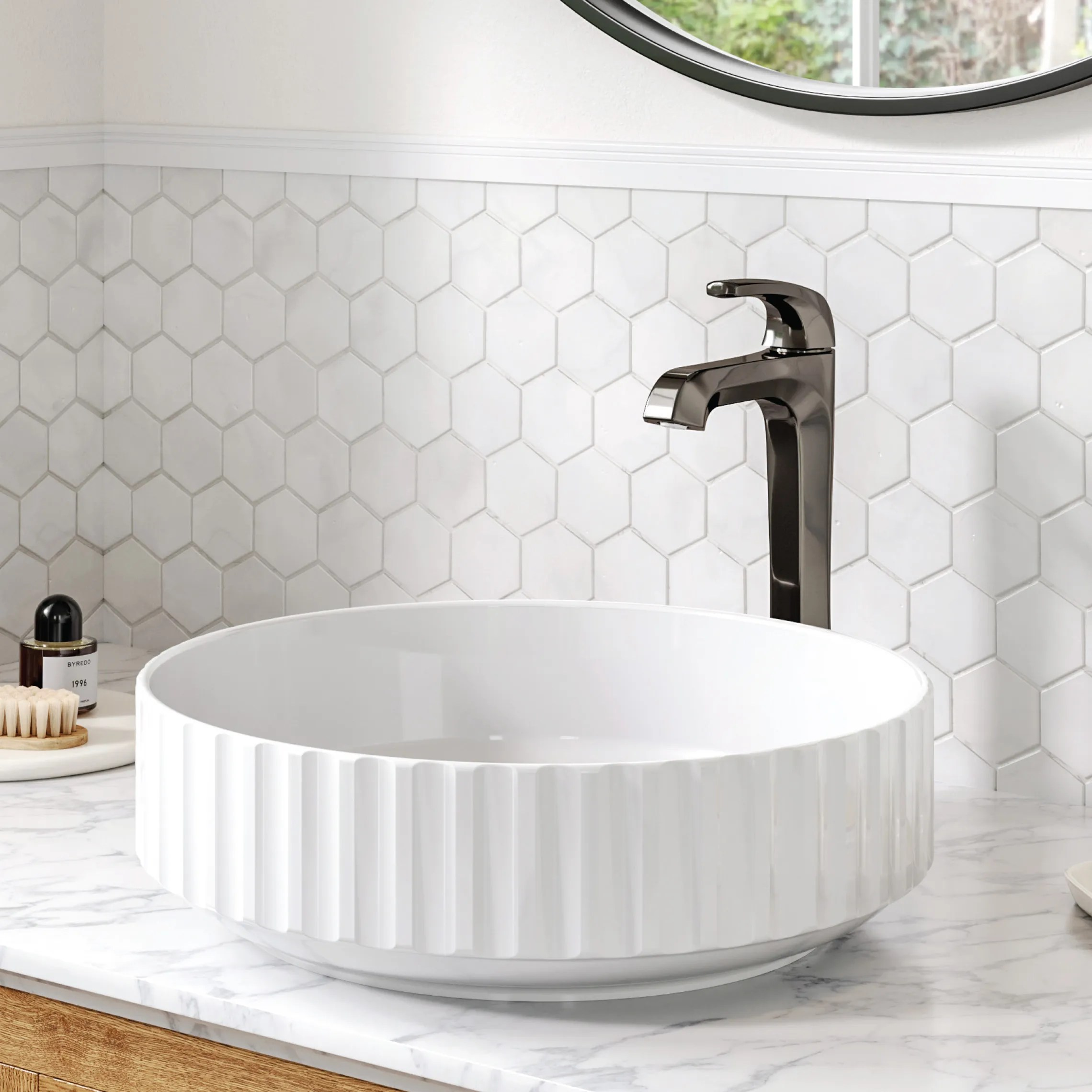 bathroom with a new vessel sink