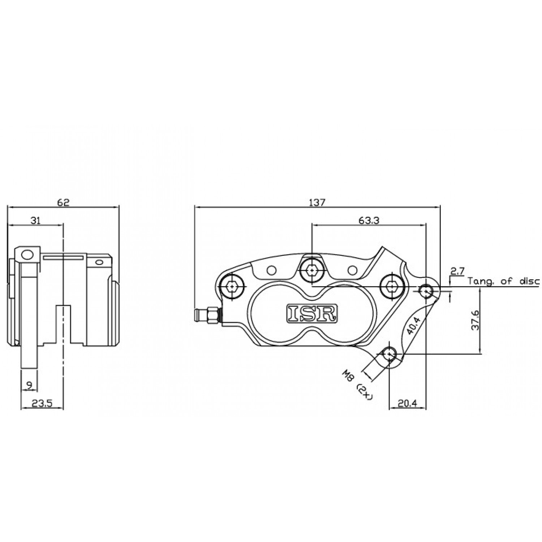 Etrier Avant 4 Pistons Isr Entraxe Fixation 40 4mm