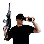binoculars watch security rifle gun