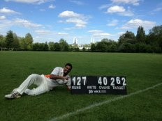 Sham ... after hitting 127 not out Vs the Bloody Lads in 2012