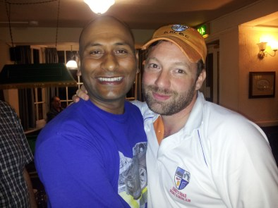 Touchy-feely ... Dan and Shailesh get emotional in the pub after