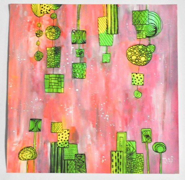 """""""Gouttes de couleurs"""" Vertes et jaunes sur fond rose"""