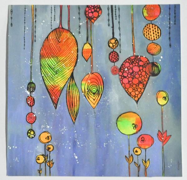 """Peinture """"Perles de couleurs"""" Jaunes, oranges, roses, et vertes sur fond bleu"""