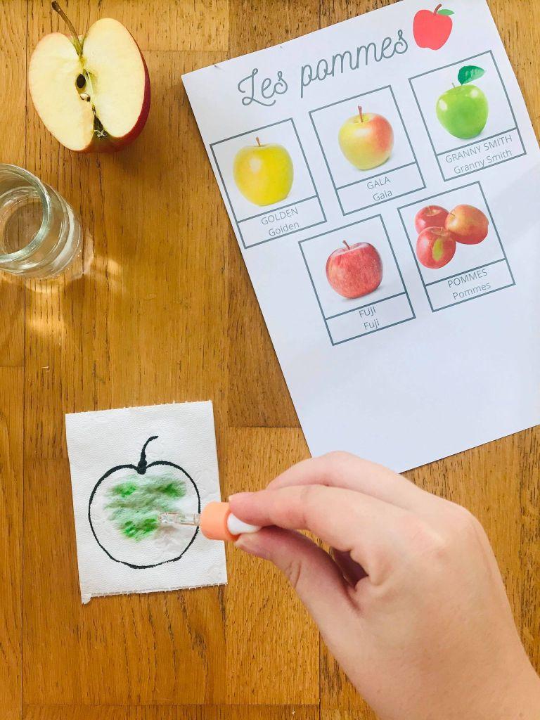 Activité thématique pomme pour enfant