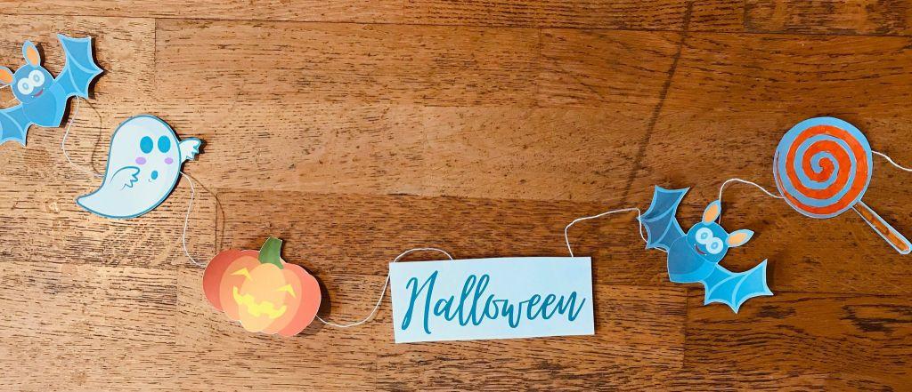 Guirlande d'halloween pour enfant à colorier