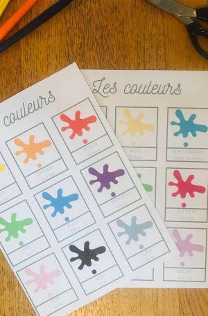 Carte de nomenclature couleur à imprimer