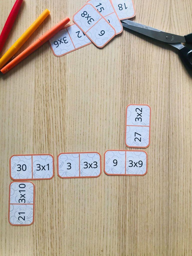 Jeu de domino table de multiplication