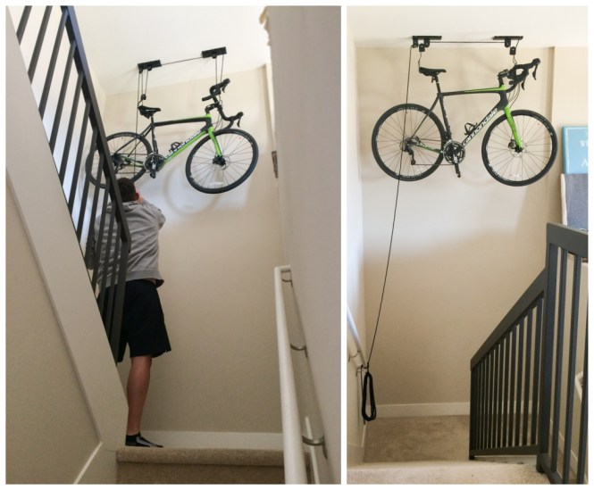 Bike hoist storage