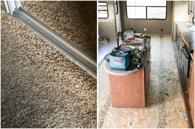 Replacing fifth wheel carpet.