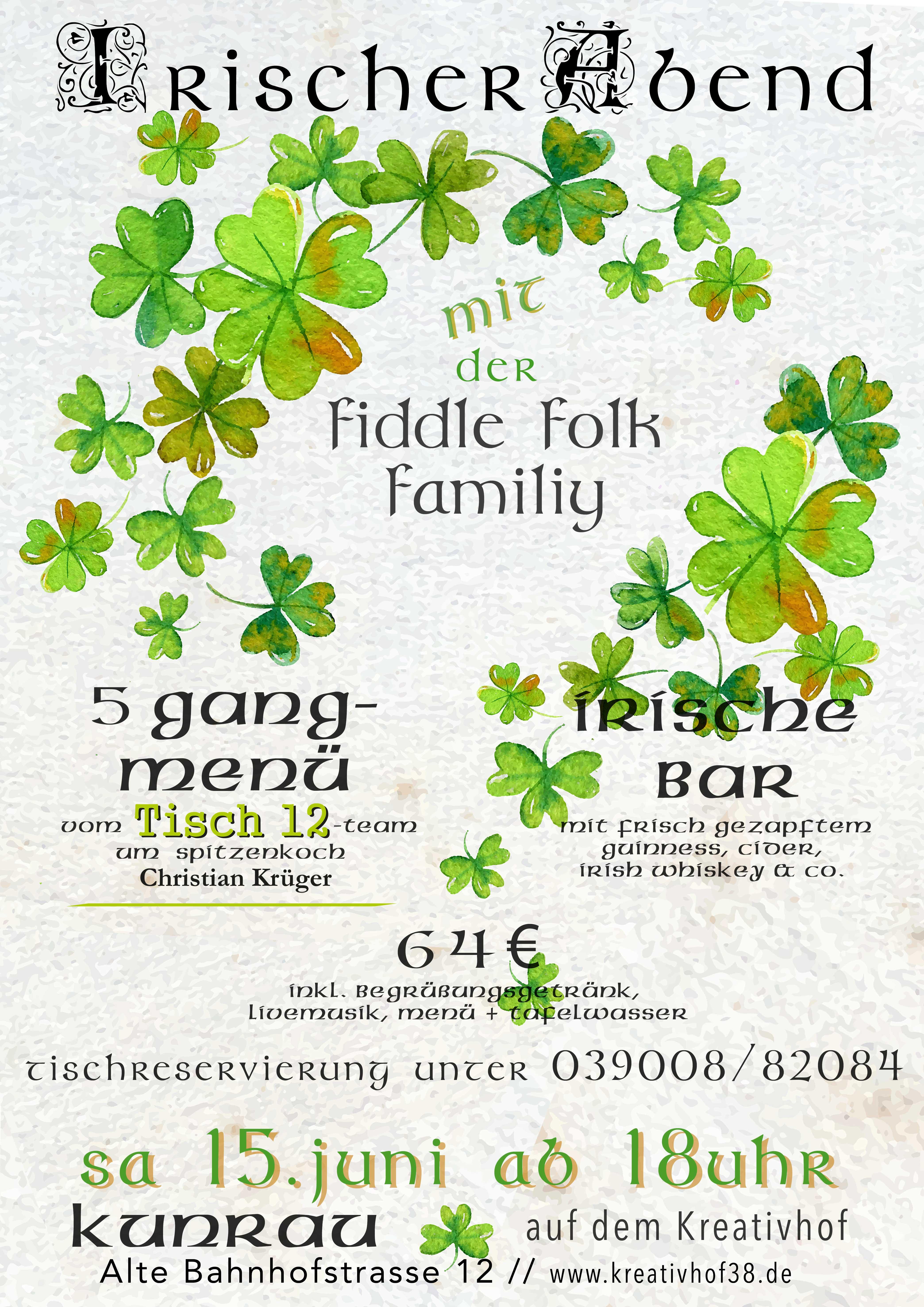 Irischer Abend auf dem Kreativhof Kunrau mit Tisch 12 und der Fiddle Folk Family
