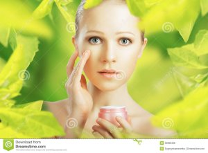beauty-woman-cream-natural-skin-care-green-young-herbal-background-30388488