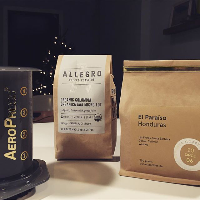 My newest hobby: single origin coffee. The third wave got me #thirdwavecoffee #bonanzacoffee #allegrocoffee #aeropress #coffeeaddict