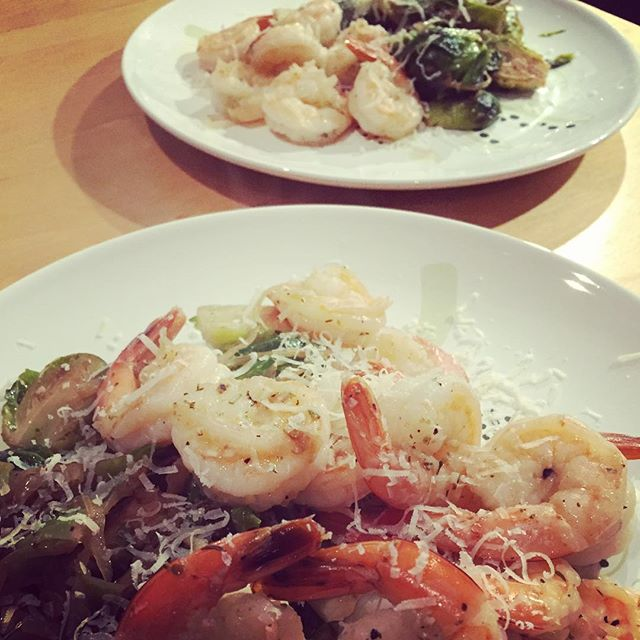 Last night we had an old classic, shrimps with Brussels sprouts #255ep #nostrandfarm #fbckitchen