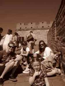 We made phone calls from the Great Wall of China--Kate's on the phone with her folks in this picture.
