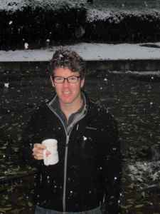 Kevin enjoying his coffee in the snow.