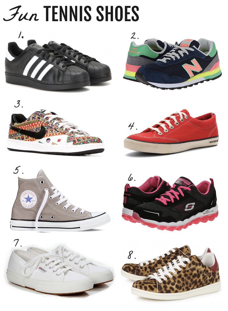 Fun Tennis Shoes that I'd like to be wearing each day while I'm on crutches. Crutches Style. Tennis Shoe Style