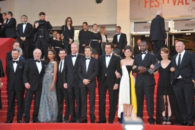 """Zoe Saldana and an array of artists including Marion Cotillard, Billy Crudup, James Caan, Noah Emmerich & director Guillaume Canet at the gala premiere of """"Blood Ties"""" at the 66th Festival de Cannes."""