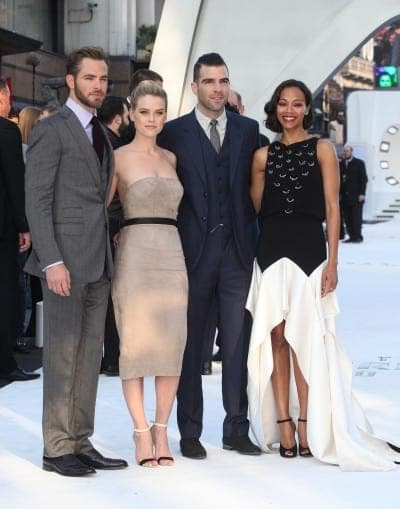 Chris Pine, Alice Eve, Zachary Quinto and Zoe Saldana arriving for the UK premiere of 'Star Trek Into Darkness' at The Empire Cinema, London.