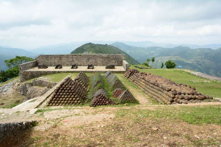 Enormous stockpiles of cannonballs still sit in pyramidal stacks at the base of the walls at the Citadelle Laferrière.