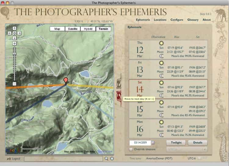 The Photographer's Ephemeris. A useful tool for the Landscape, Dawn and Sunset photographer.
