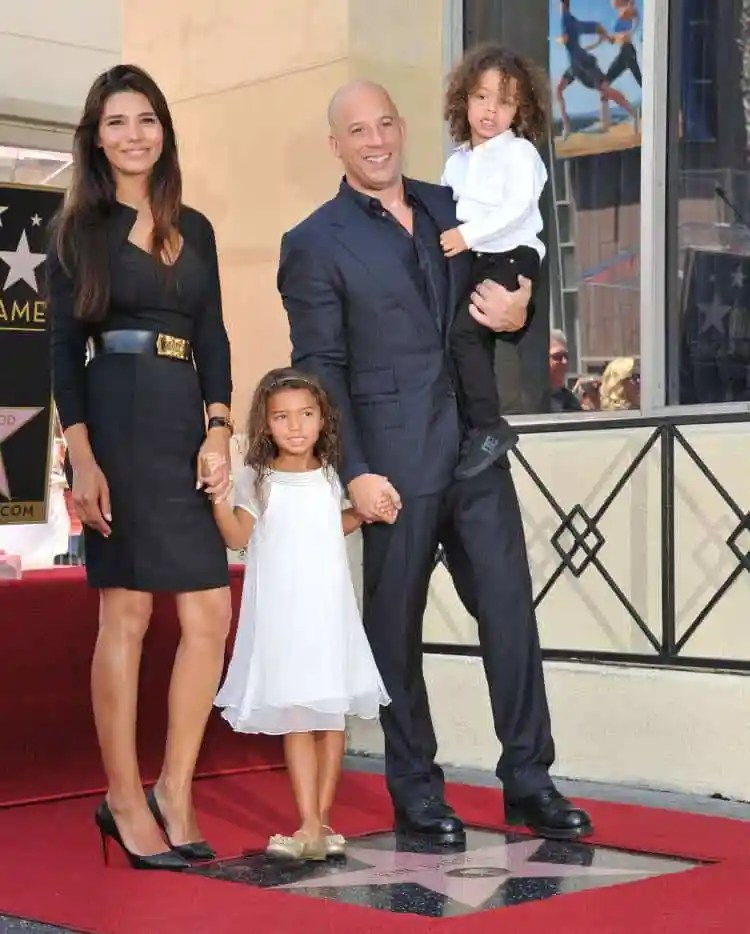 Vin Diesel with his partner Paloma Jimenez and their children
