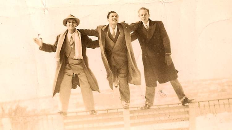Joe Gaetjens (centre) with friends in New York