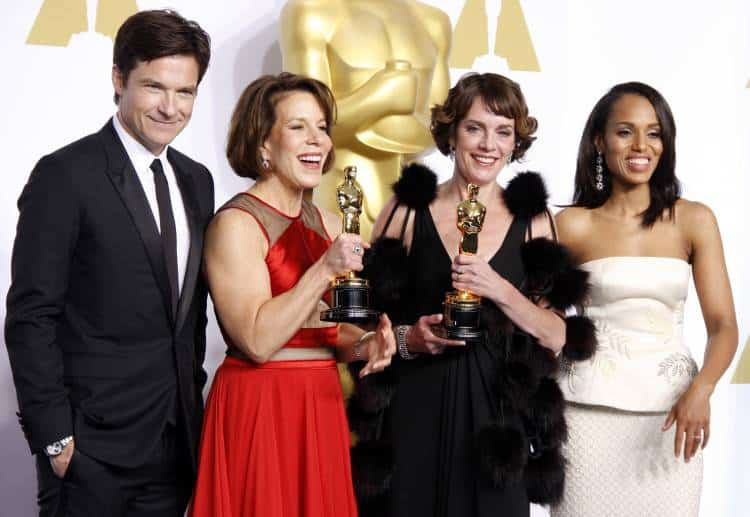 Jason Bateman, Ellen Goosenberg Kent, Dana Perry and Kerry Washington, at the 87th Annual Academy Awards - Press Room held at the Loews Hollywood Hotel in Los Angeles.