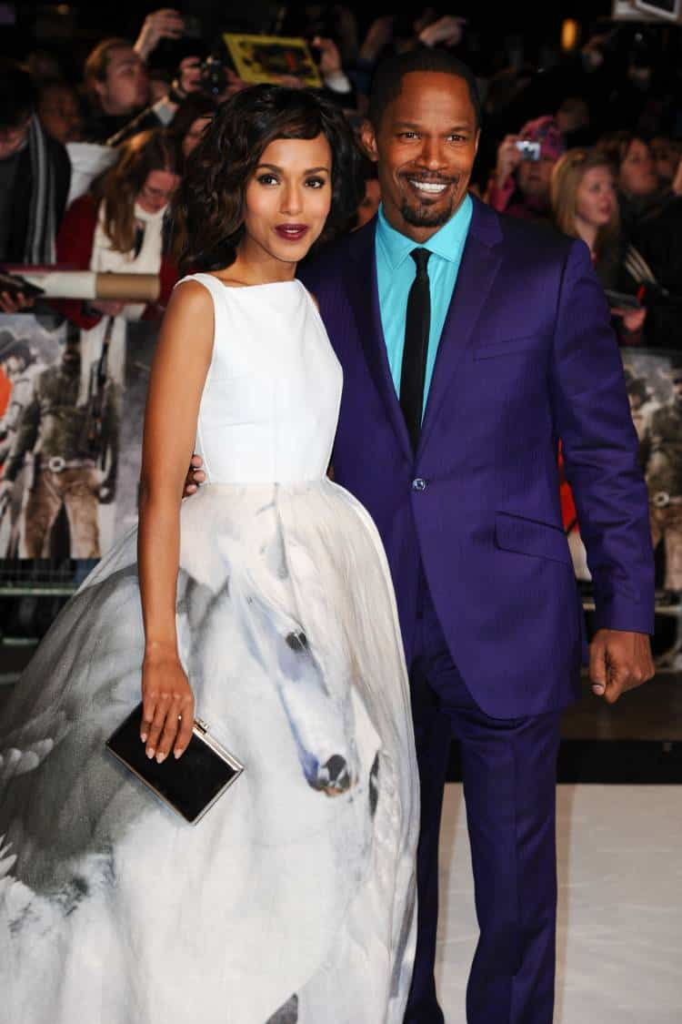"Kerry Washington and Jamie Foxx arriving for the ""Django Unchained"" premiere, Empire Leicester Square, London. Picture by: Steve Vas."