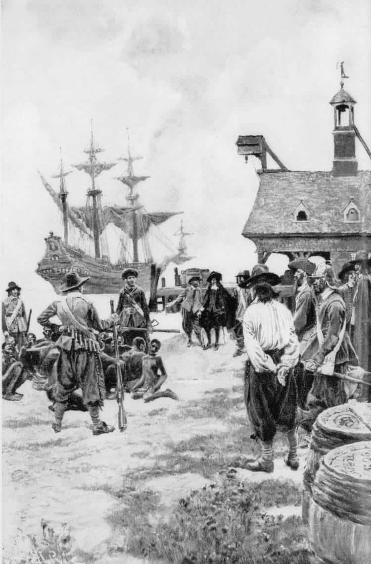 Landing of 20 African captives at Jamestown from Dutch man-of-war, 1619. In the early colonial era, Africans in Virginia were called servants, and worked alongside white indentured servants. 1619.