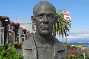Bust of american author John Steinbeck located in Monterey, California. Many of Steinbeck's novels take place in and around the Monterey area.