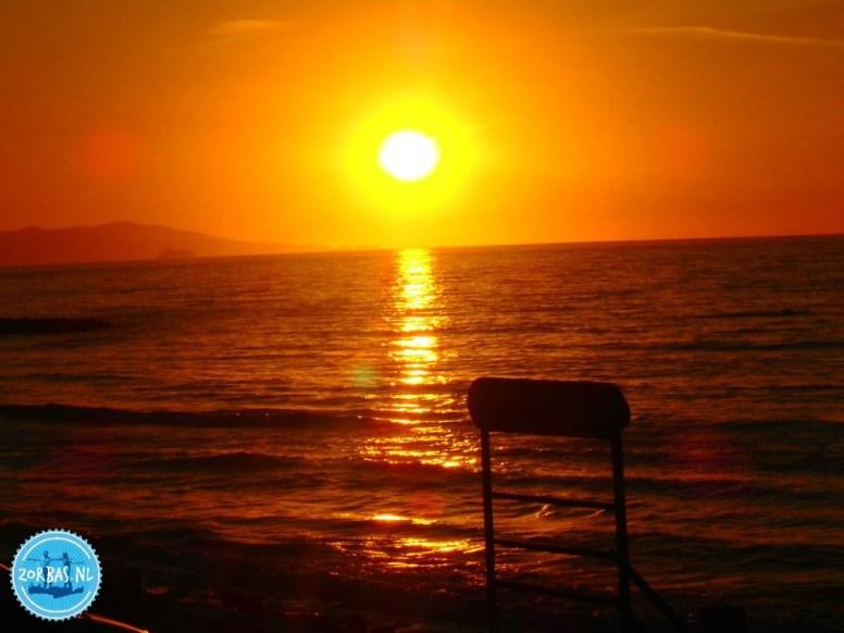 Zonsondergang Kreta Griekenland appartementen